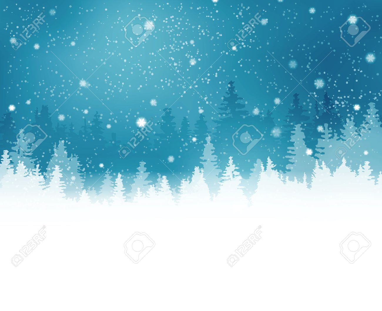 Abstract winter background with rows of fir tree silhouette and snowfall. Peaceful winter landscape in shades of blue. Copy space. - 33803058