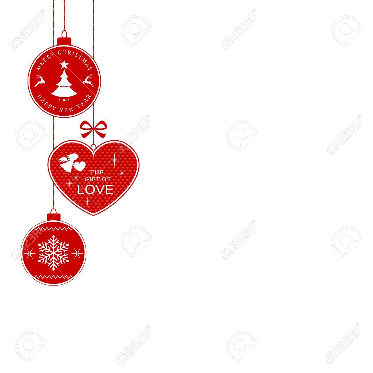 Hanging Christmas Balls And Heart With The Writing Merry Christmas ...
