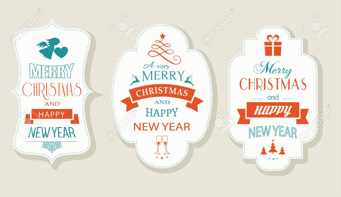 set of christmas and new years labels with various christmas symbols and the wording merry
