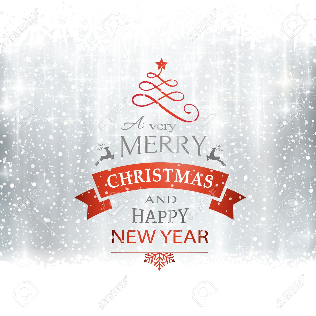 Abstract silver winter, Christmas card with snowflakes, snowfall, out of of focus light dots, stars and light effects and the wording Merry Christmas and Happy New Year. Copy space - 46728118