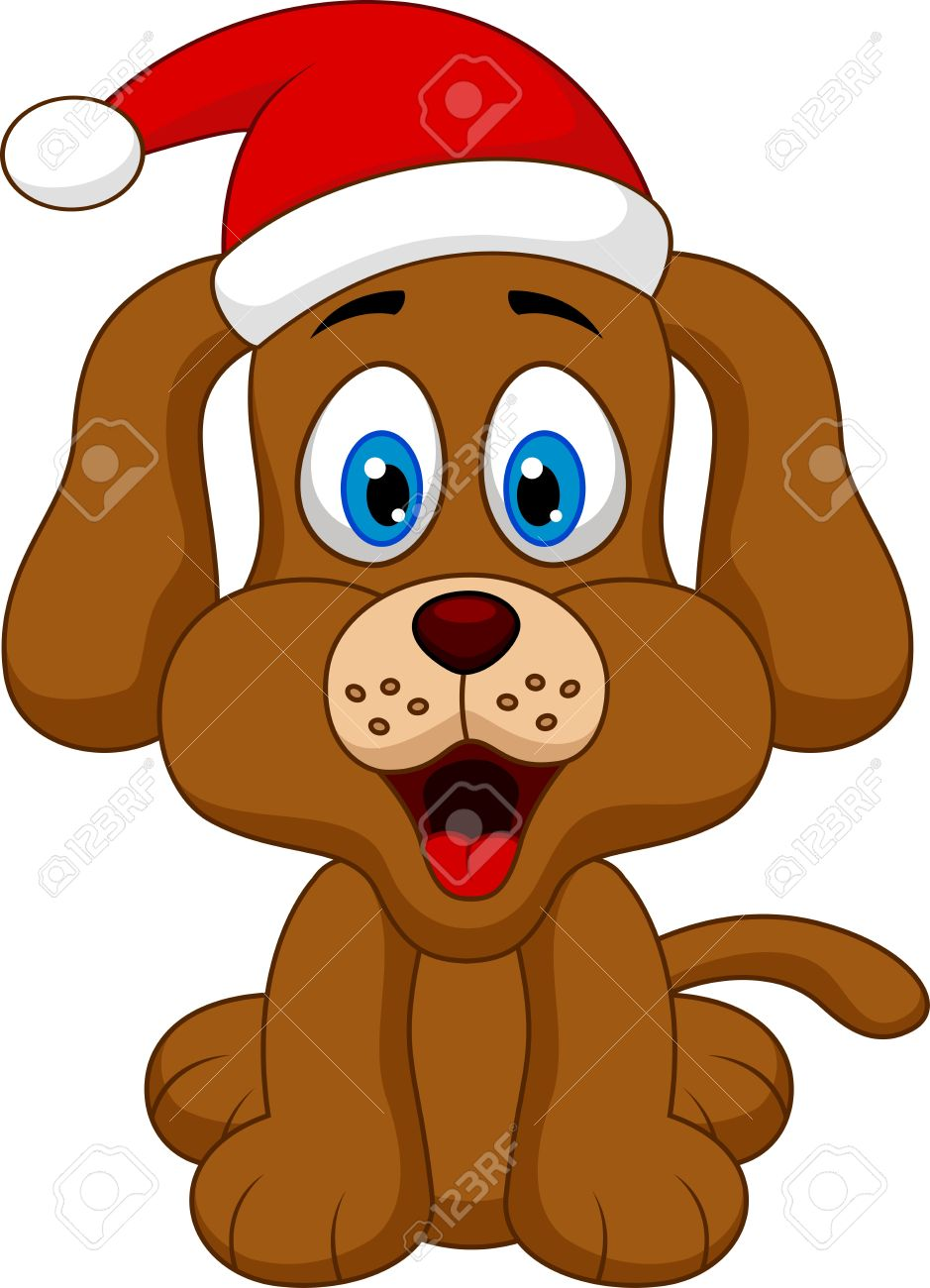 dog cartoon with christmas red hat royalty free cliparts vectors rh 123rf com christmas dog clipart free