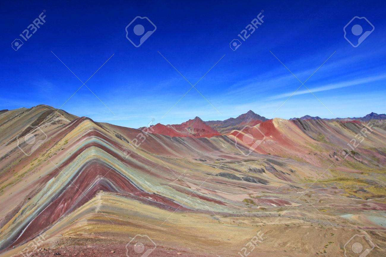 Mountain living near cusco peru royalty free stock photo - The Beautiful Colored Rainbow Mountain Panorama Near Cusco Peru Nice View Into The Hole Valley