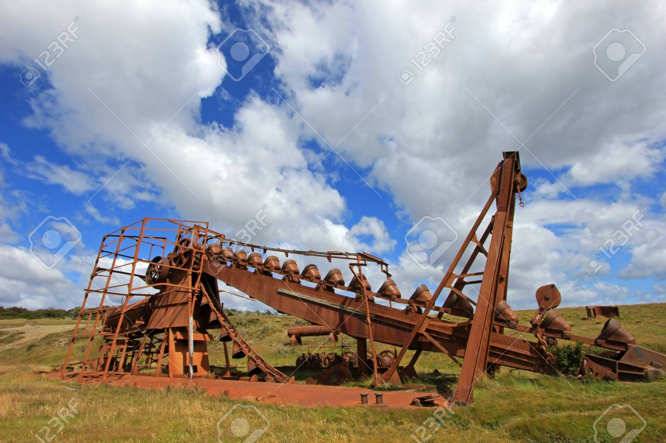 Abandoned gold dredge, near Lake Blanco, the english mechanical