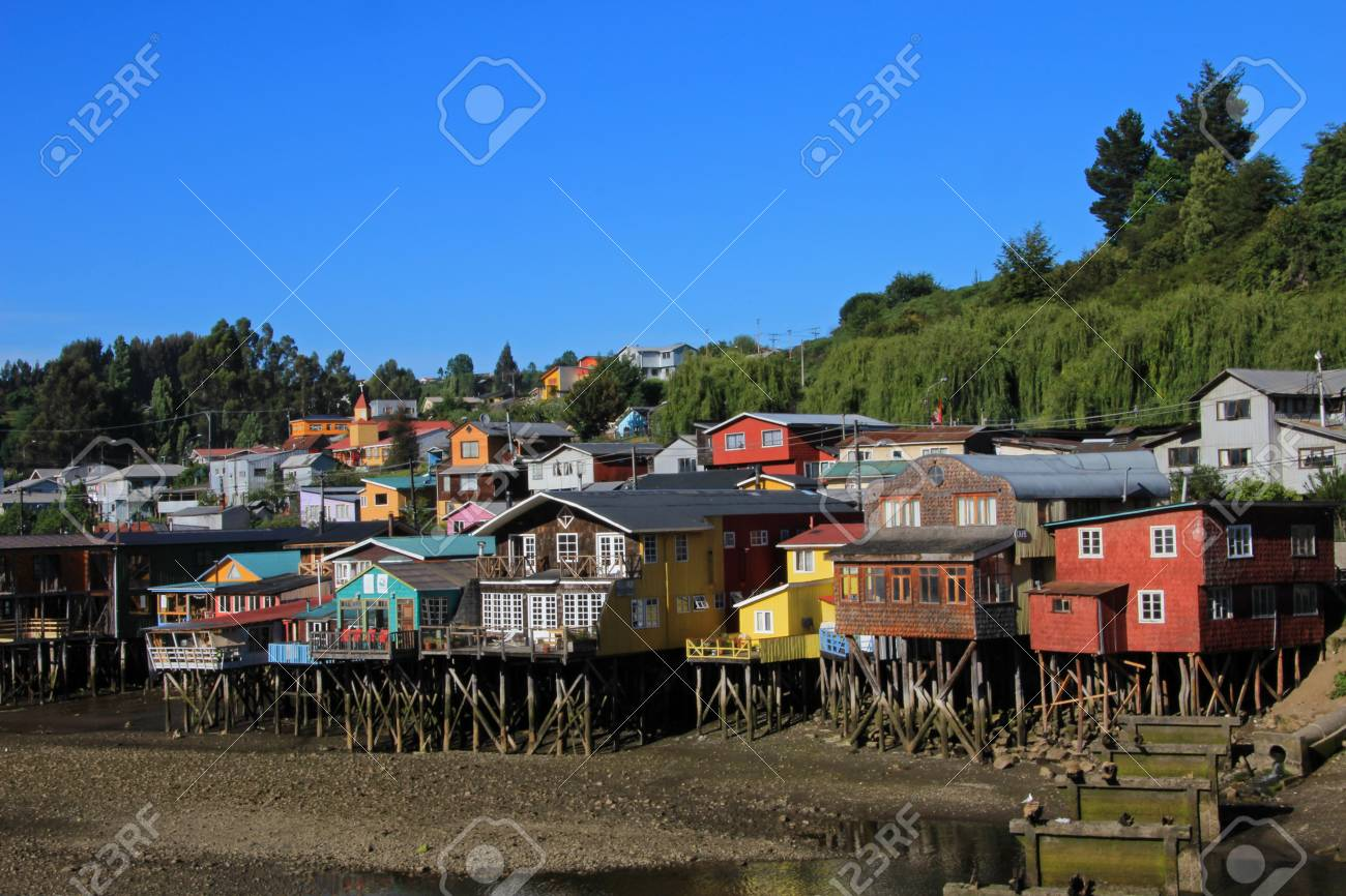 Palafito houses on stilts in castro chiloe island patagonia chile stock photo