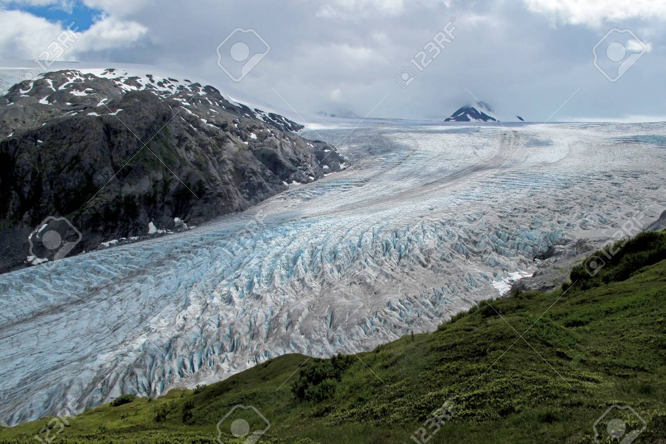 exit glacier harding ice field kenai fjords national park stock