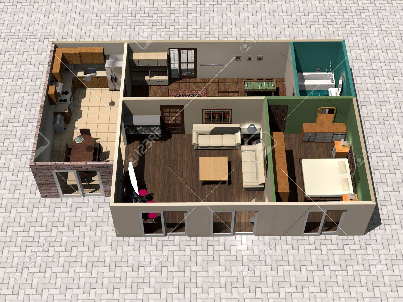 D House Plan Stock Photo  Picture And Royalty Free Image  Image    Stock Photo   D house plan