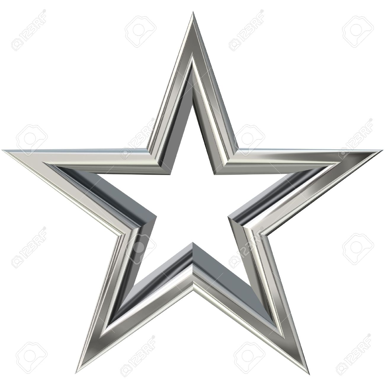 3D rendering of silver star front view Stock Photo - 2982834