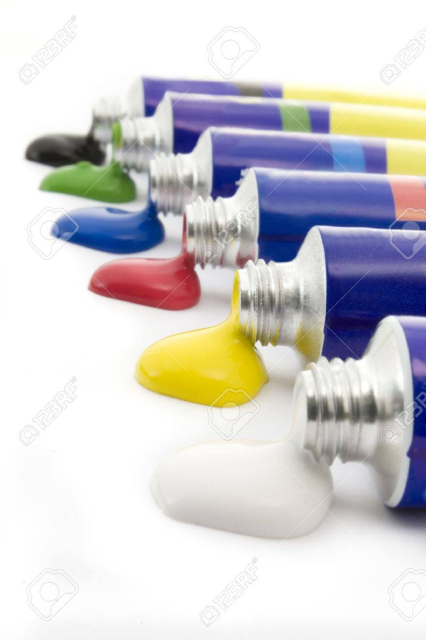 Colors in tubes isolated on white background Stock Photo - 4001119