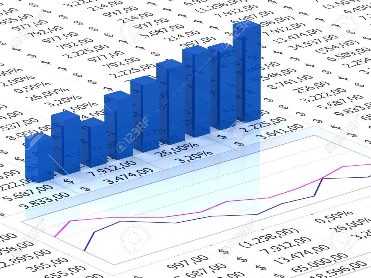Hoja De Cálculo Con Gráfico De Barras De Color Azul Con Los Números ...