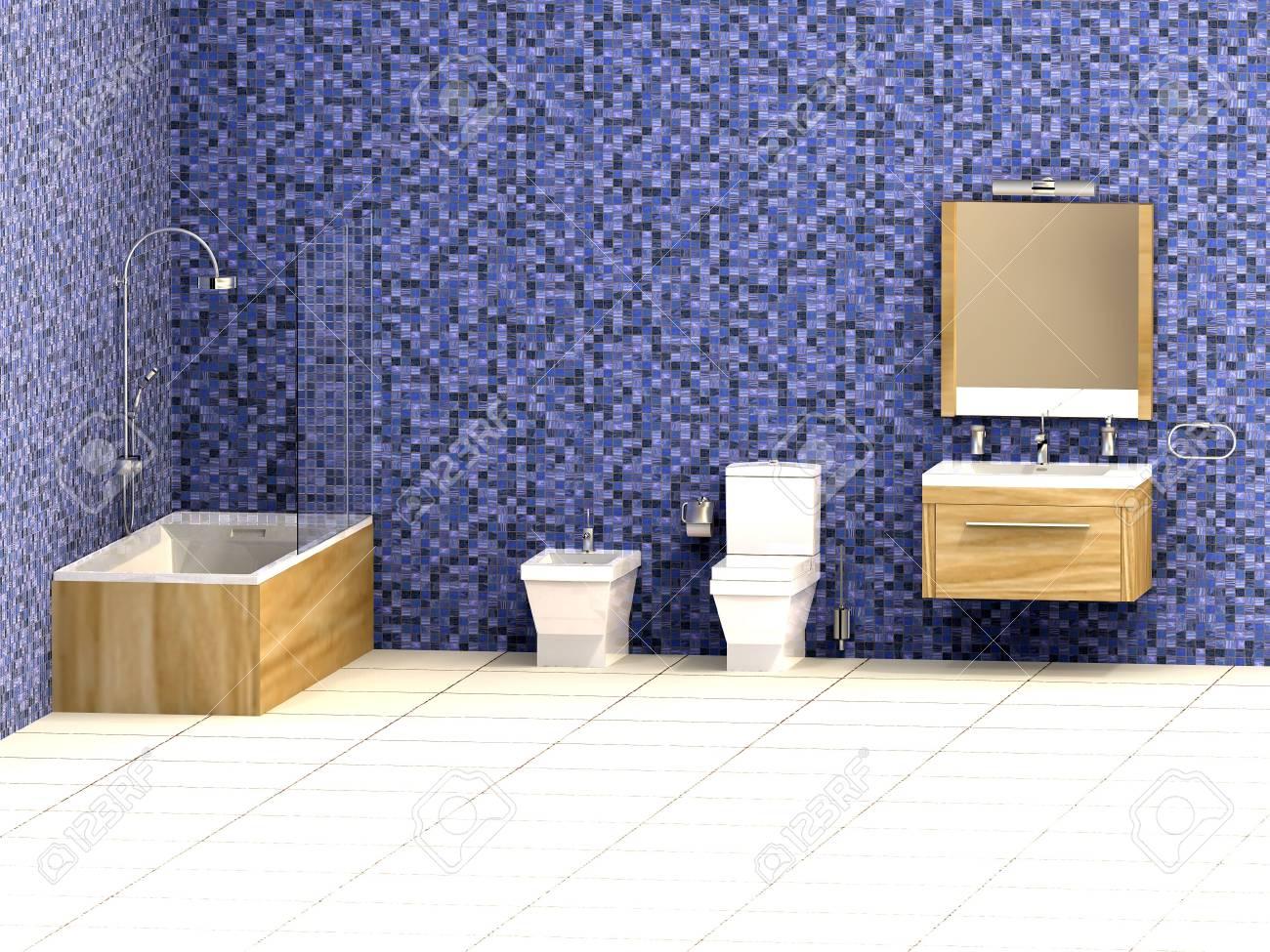 Salle de bain moderne avec la mosaïque bleu et blanc étage