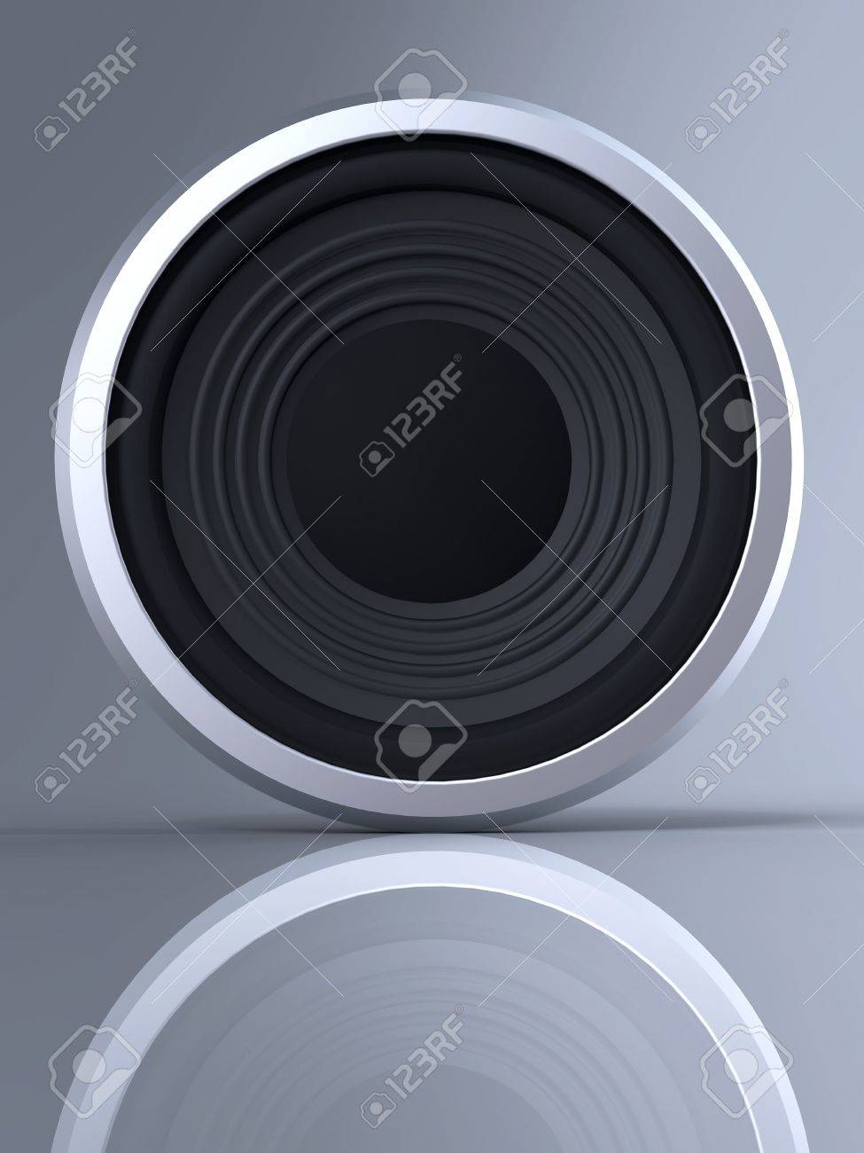 Loudspeaker with reflection and shadow on gray background Stock Photo - 4691838