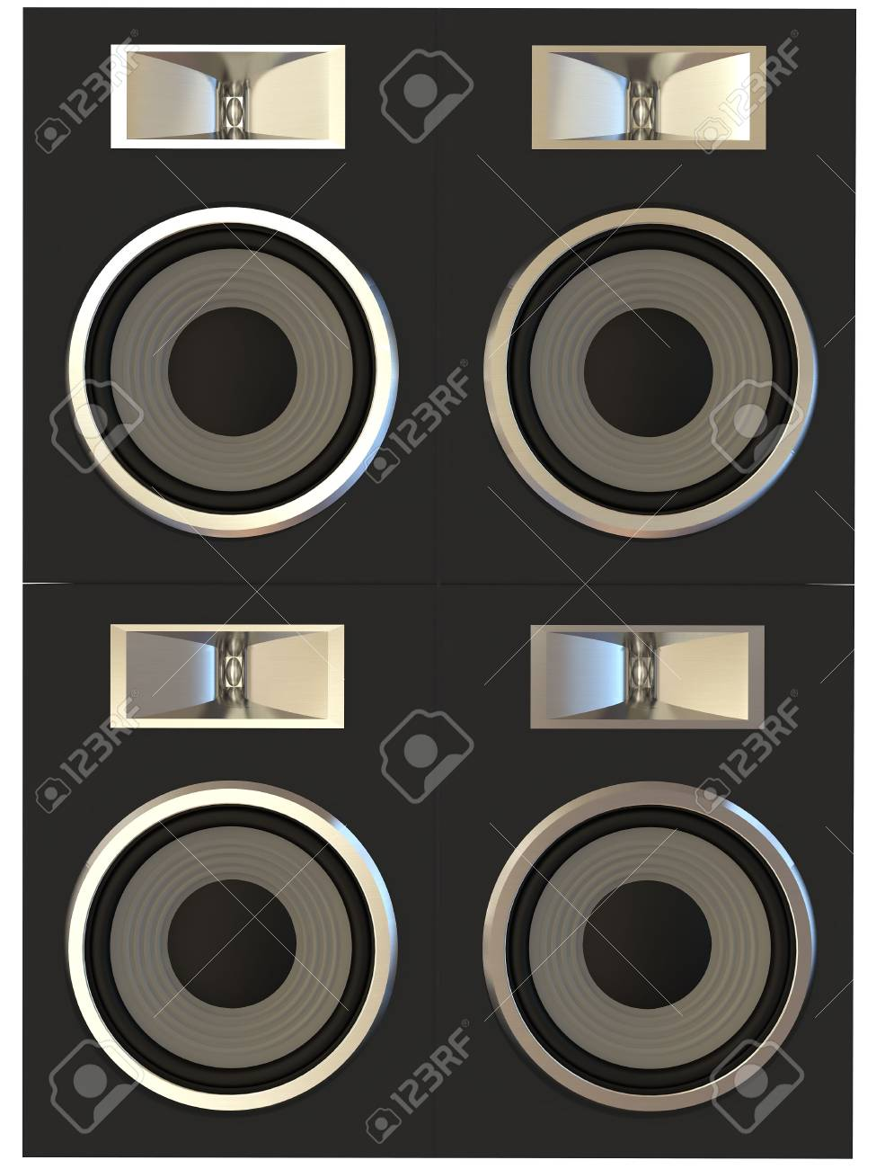 3d rendering of four loudspeakers  on white background Stock Photo - 4691842