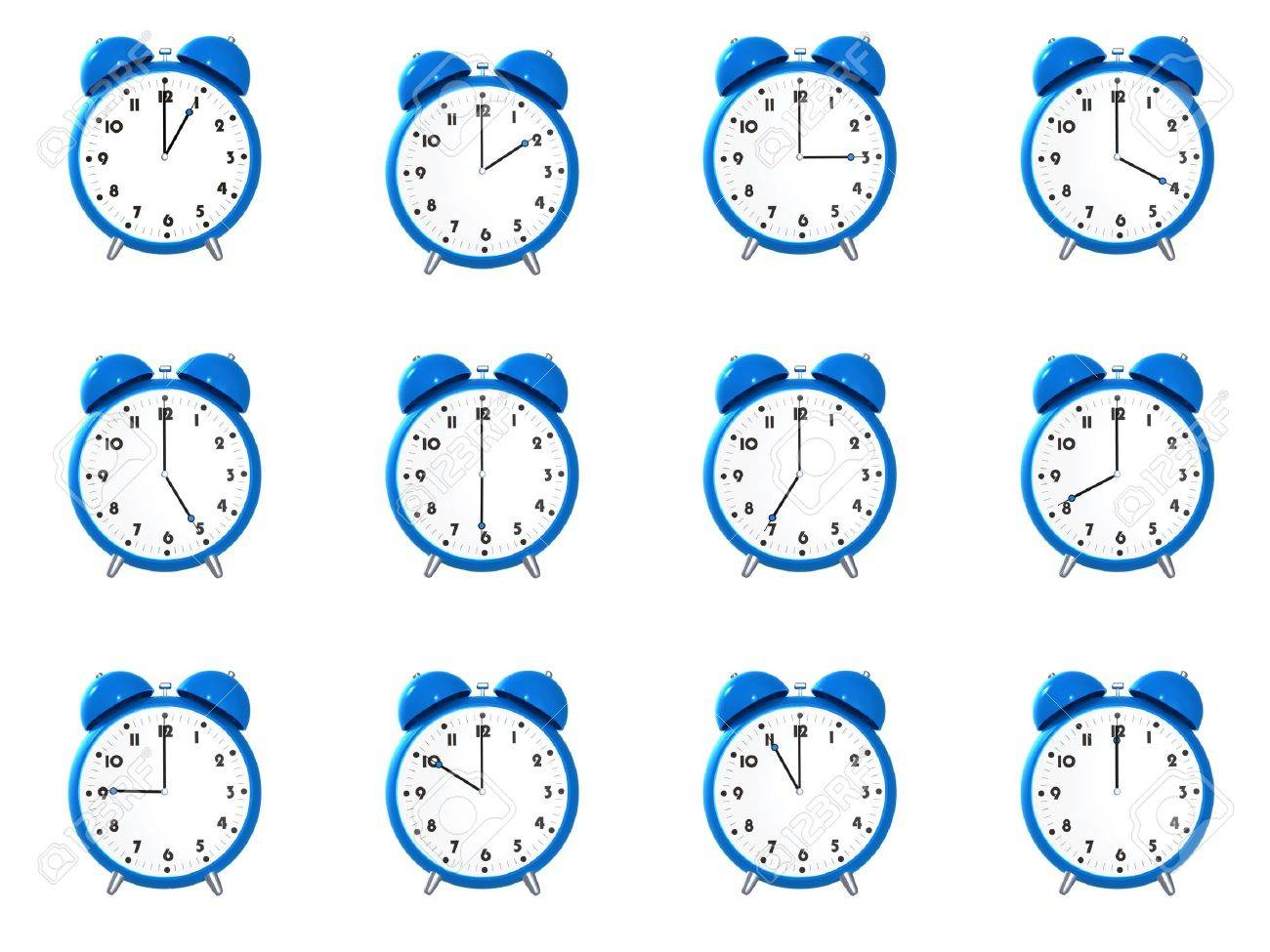 Twelve blue alarm clock's showing different time isolated on white background Stock Photo - 4959519