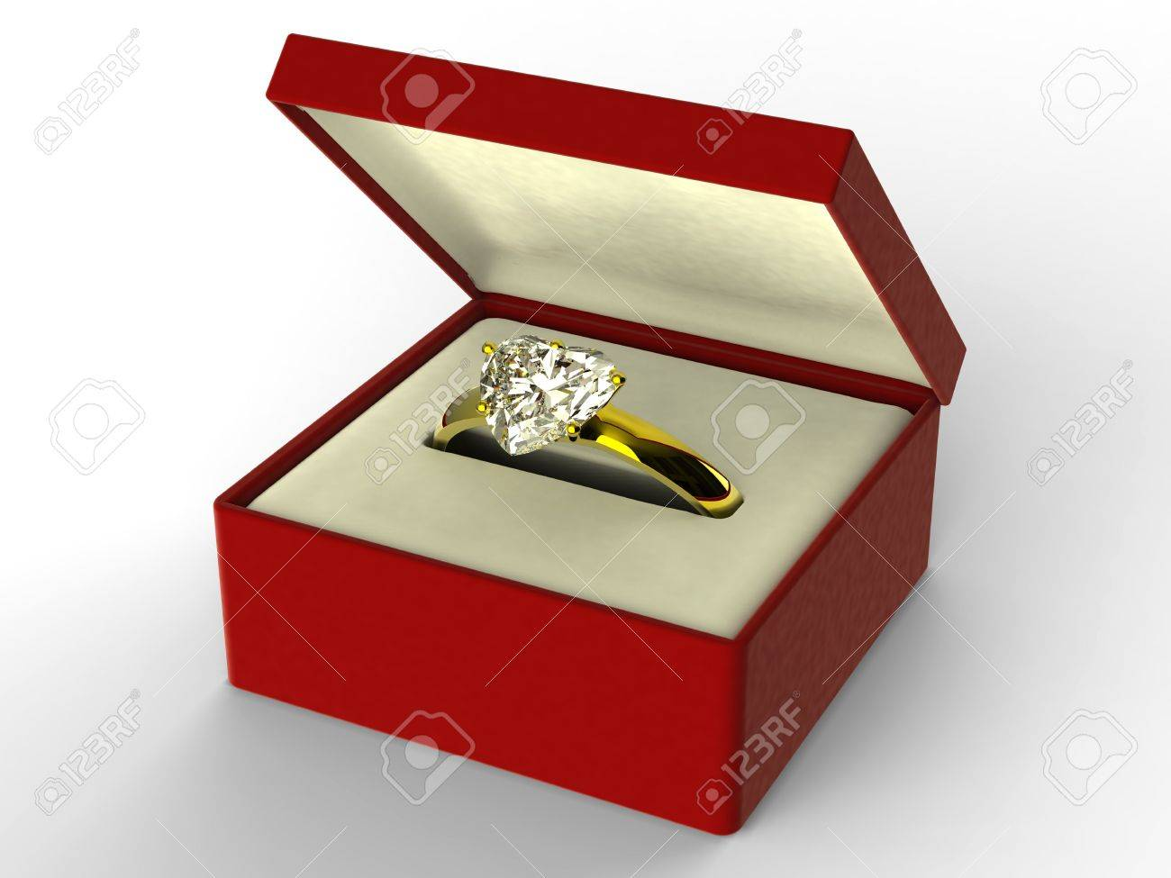 Golden Heart Shape Diamond Ring In Red Box Stock Photo  6103207