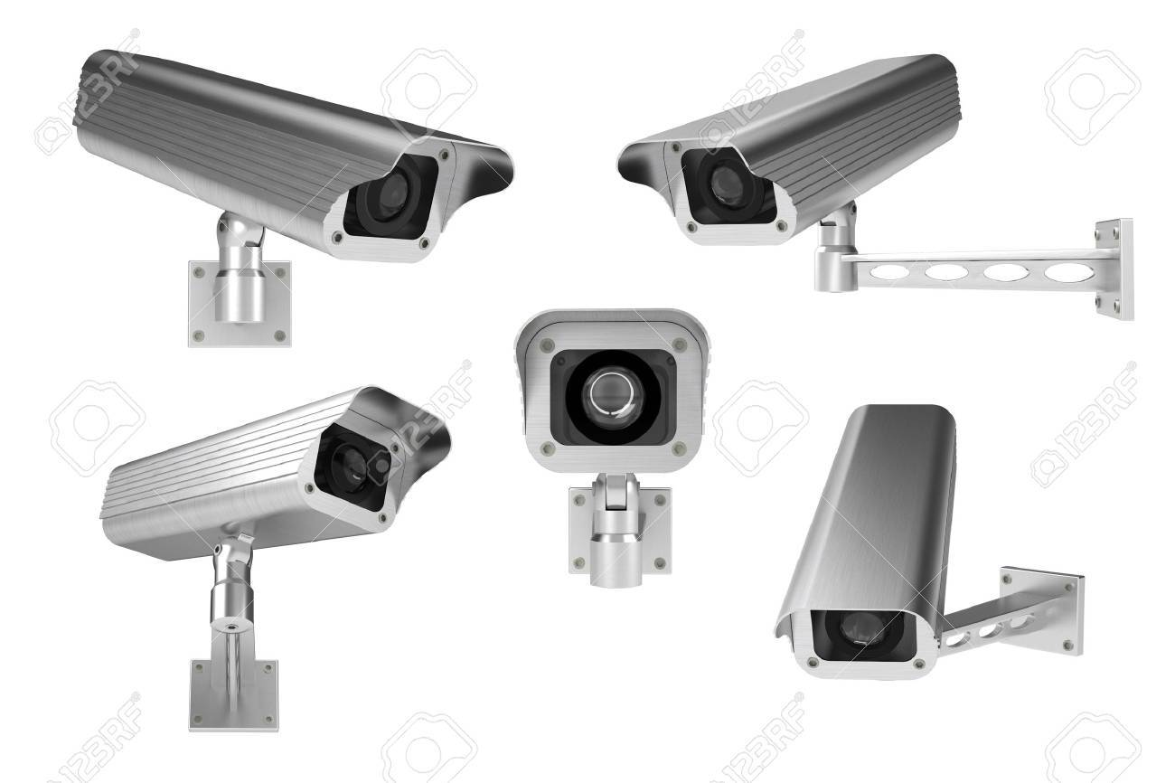 3d rendering of surveillance cameras on white background Stock Photo - 6907006