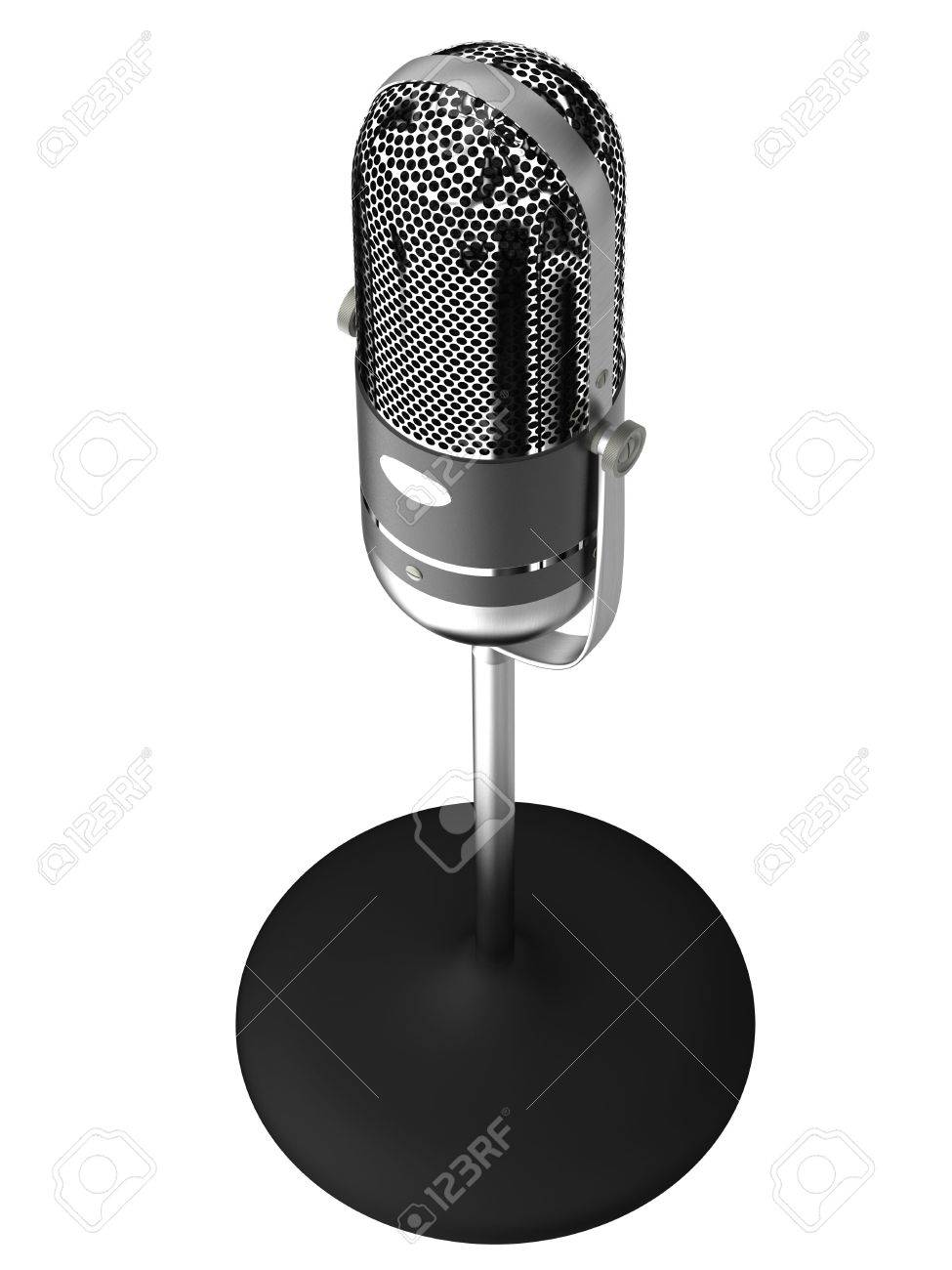 Vintage silver microphone isolated on white background Stock Photo - 7002520