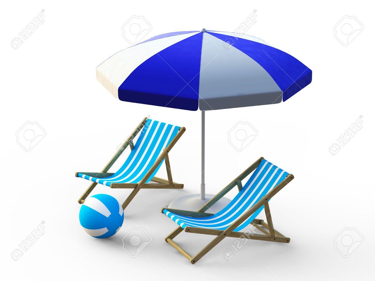 Beach umbrella and chair black and white - Blue Beach Chair And Umbrella On White Background Stock Photo 7292600