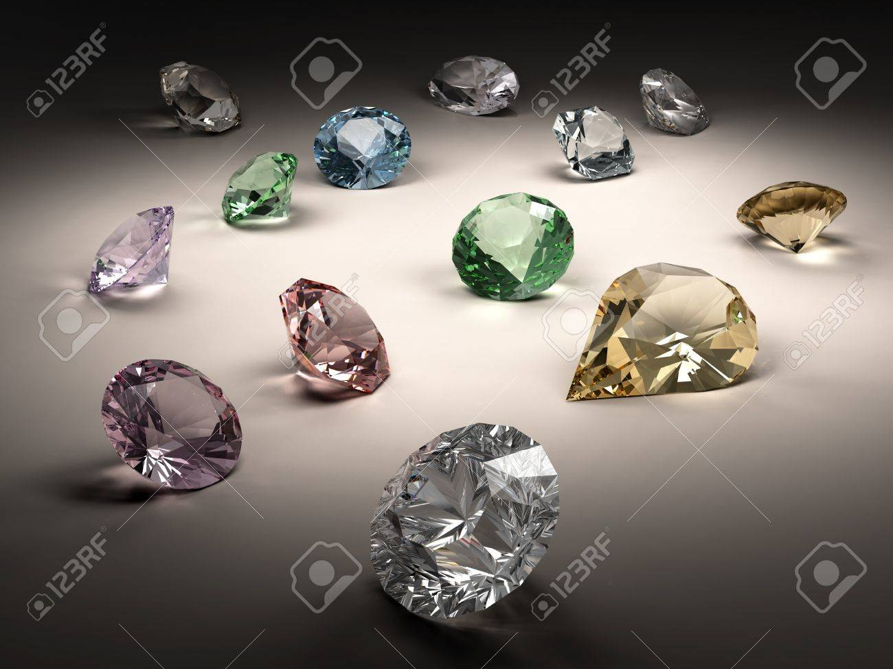 Shiny diamonds in different shapes and colors on dark background Stock Photo - 8269656