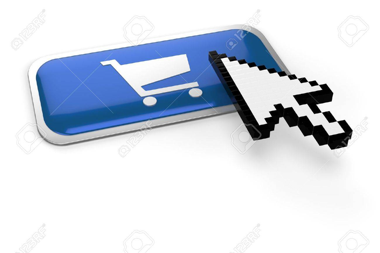 pixelated mouse  pointer on on shopping cart button Stock Photo - 8569506