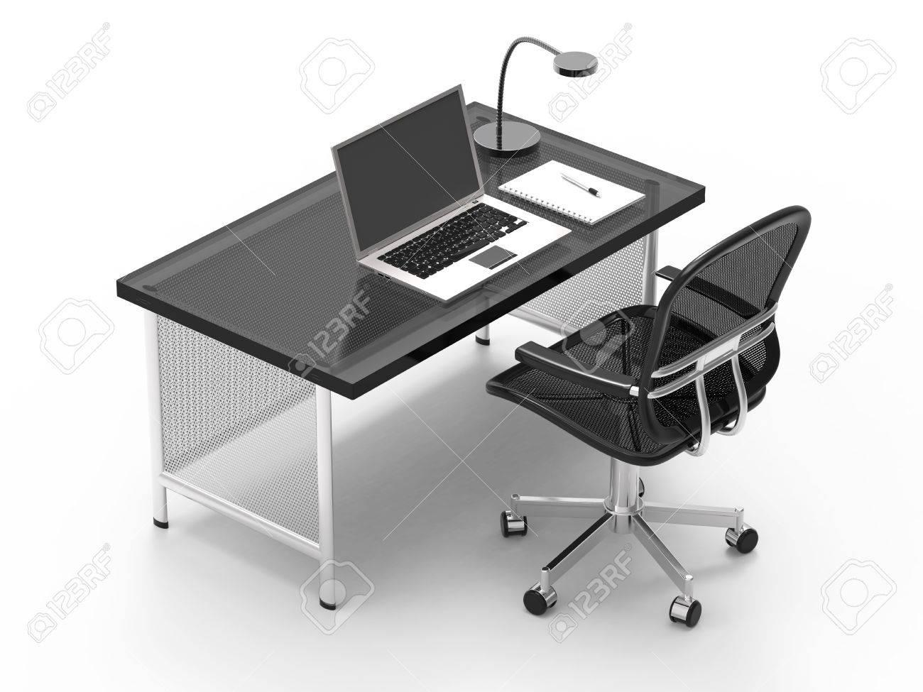 Scrivania Per Computer Bianco.Scrivania Per Ufficio Con Computer Notebook Luce E Penna Su