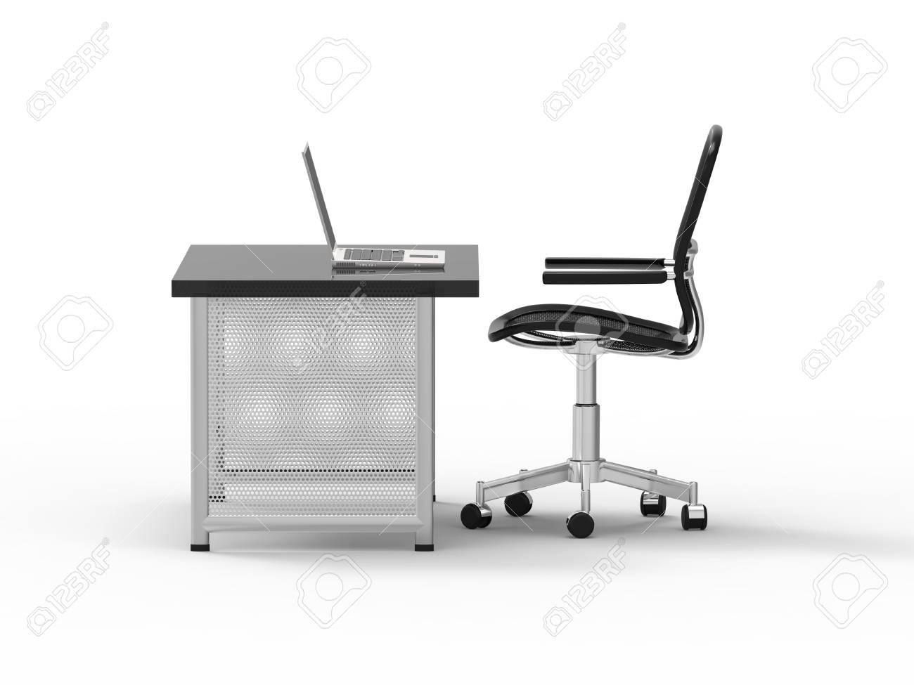 Immagini stock scrivania per ufficio con computer notebook luce