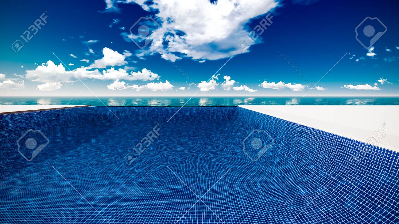 Infinite swimming pool with ocean and clouds in background