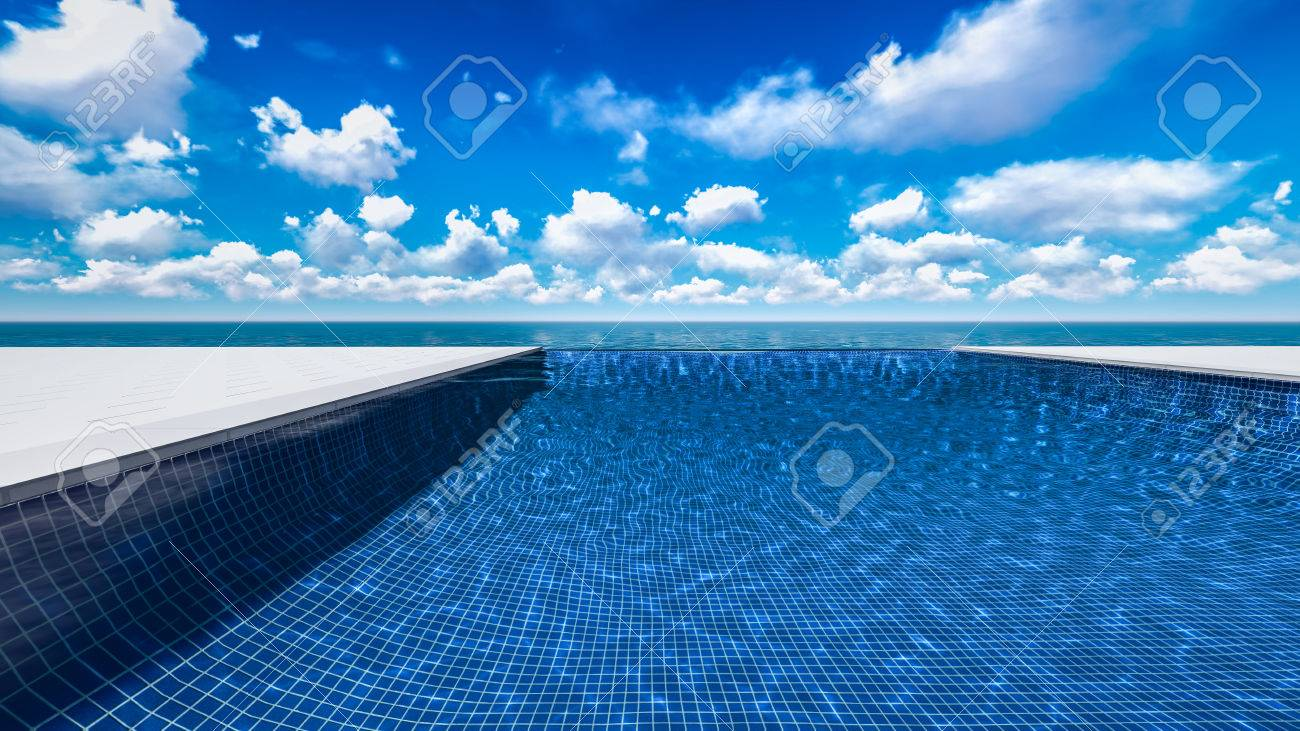 Infinite Swimming Pool With Ocean And Clouds In Background Stock ...