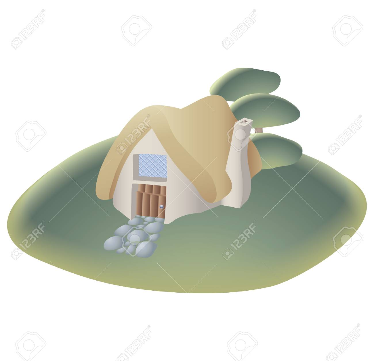 a cottage on the hill Stock Vector - 2511918