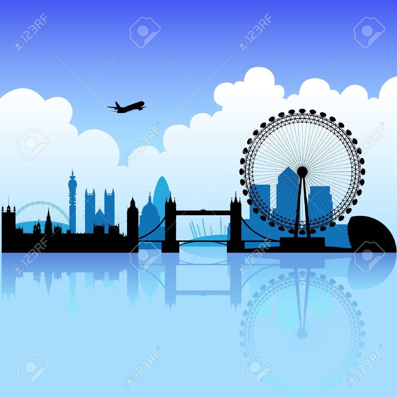 London skyline silhouette on a bright partly cloudy day Stock Vector - 3915589