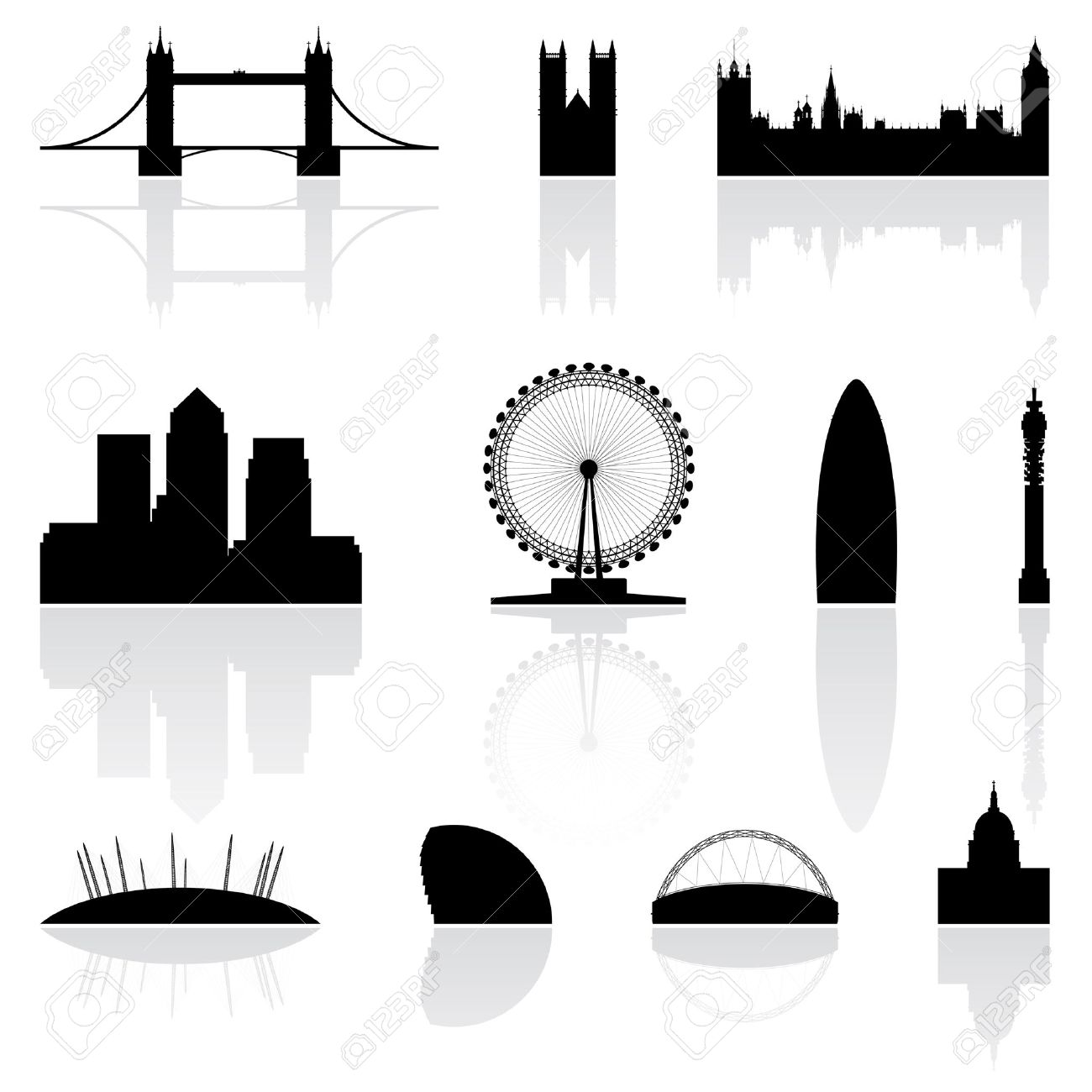 London famous landmarks isolated on a white background Stock Vector - 3915592