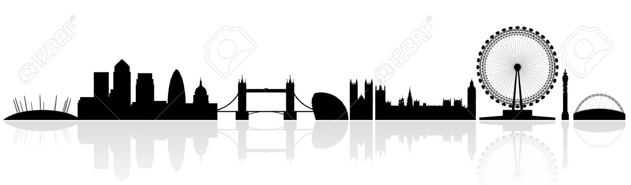 London Skyline Silhouette Isolated On A White Background With Reflections Stock Vector
