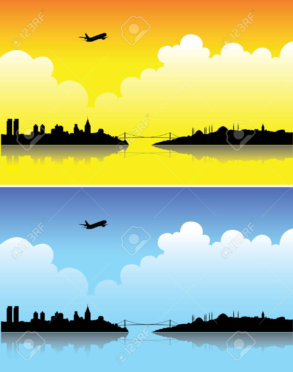Istanbul silhouettes on a bright day and at dusk Stock Vector - 3923006