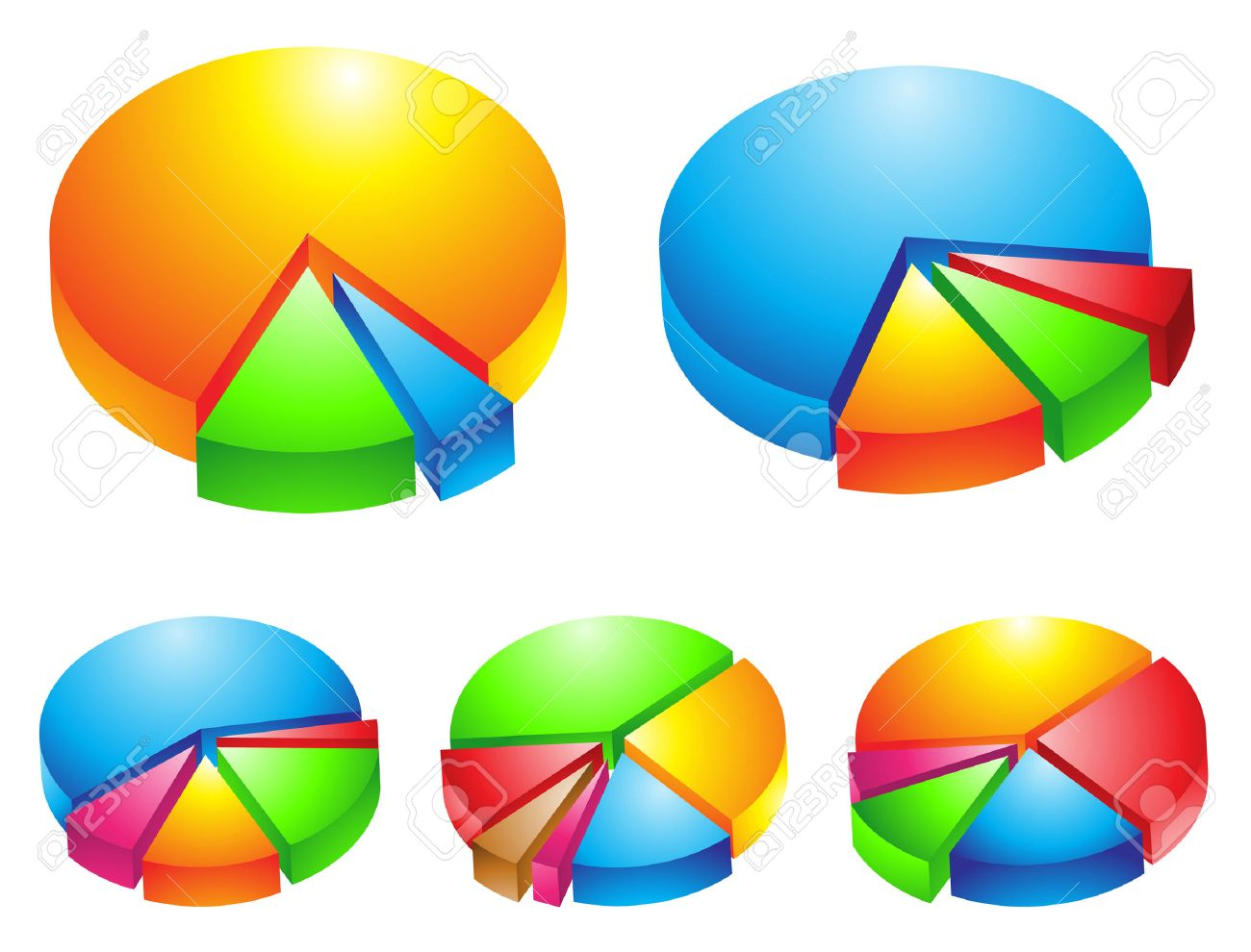 5 colourful 3d pie graphs isolated on white Stock Vector - 4017787
