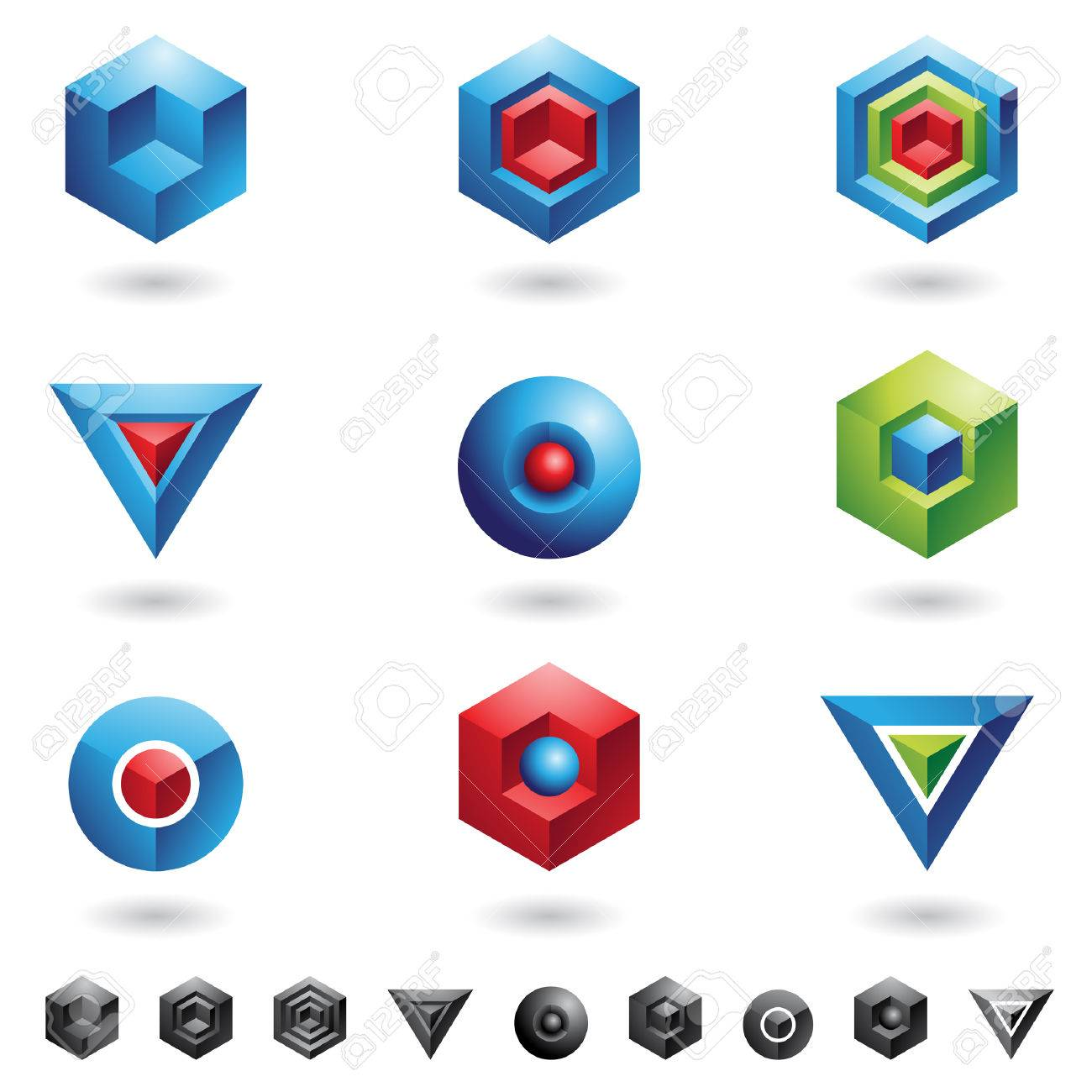 Spheres, Cubes, triangles and three dimensional shapes Stock Vector - 4061713