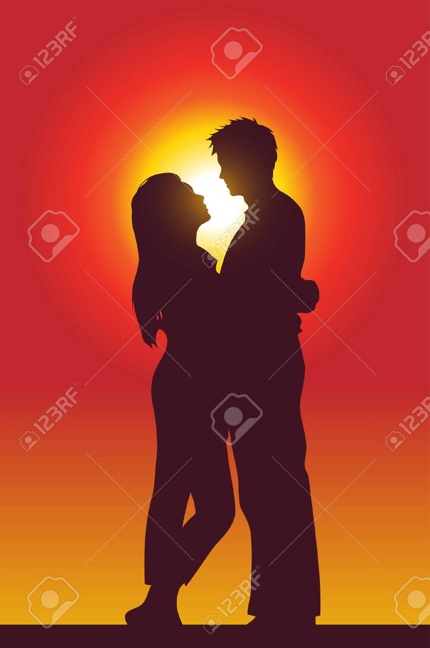 a happy couple holding each other, silhouette Stock Vector - 4243597