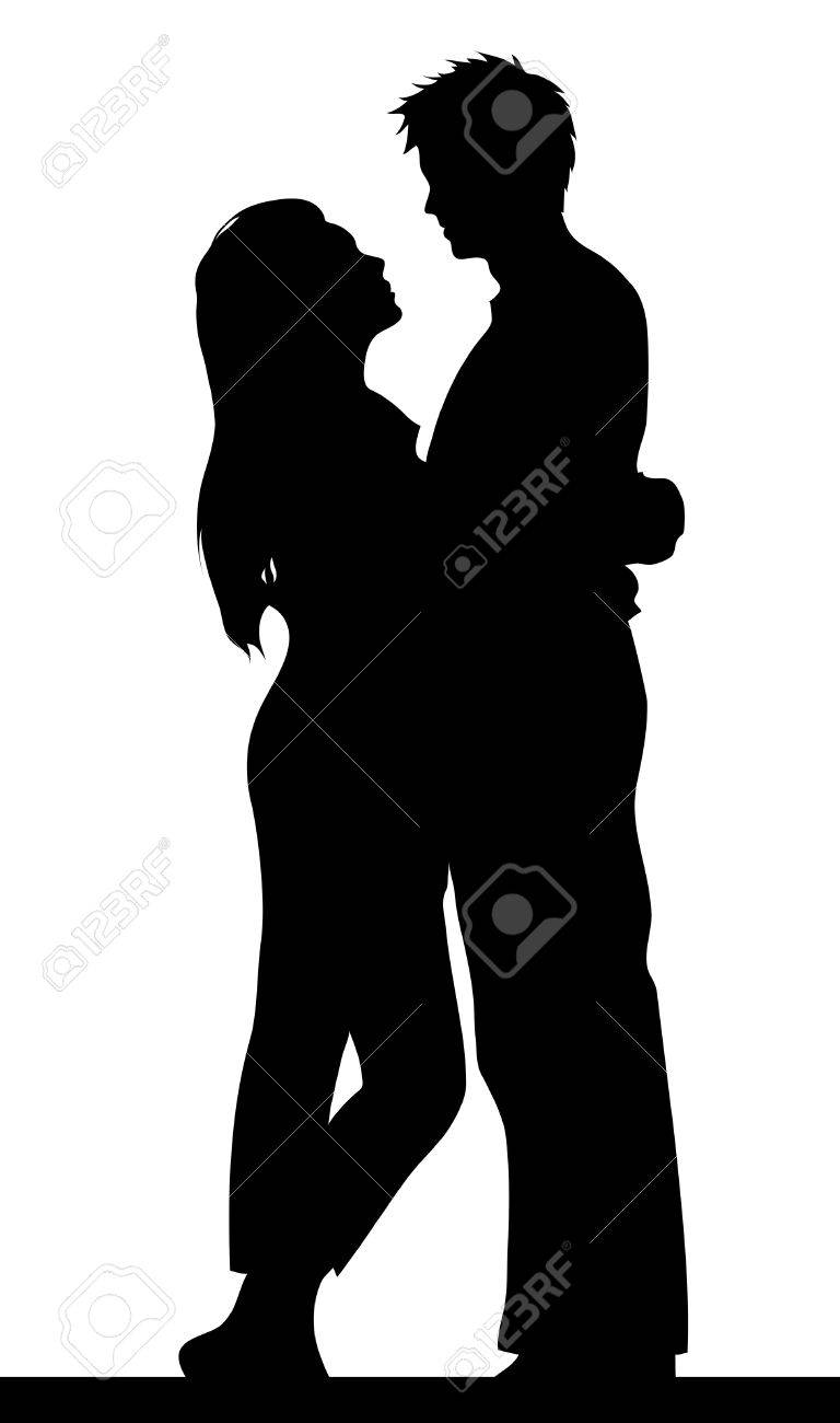 a happy couple holding each other, silhouette Stock Vector - 4243596