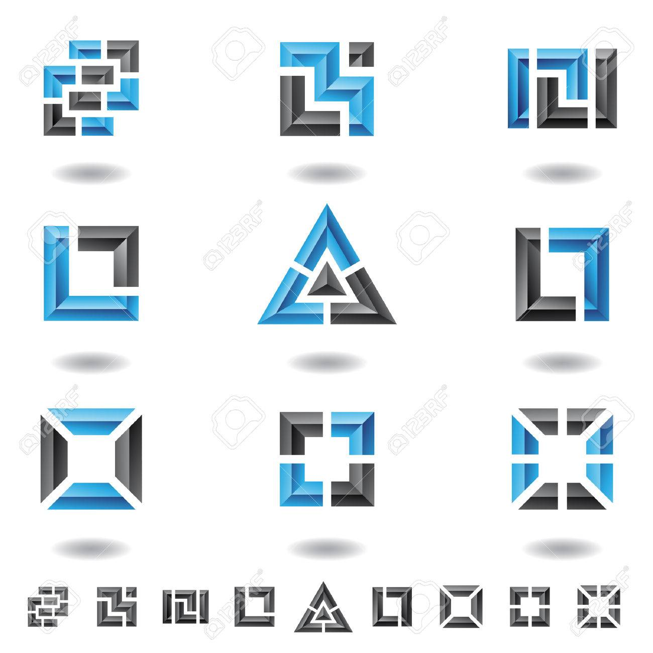 blue abstract squares, rectangles and a triangle Stock Vector - 4271658