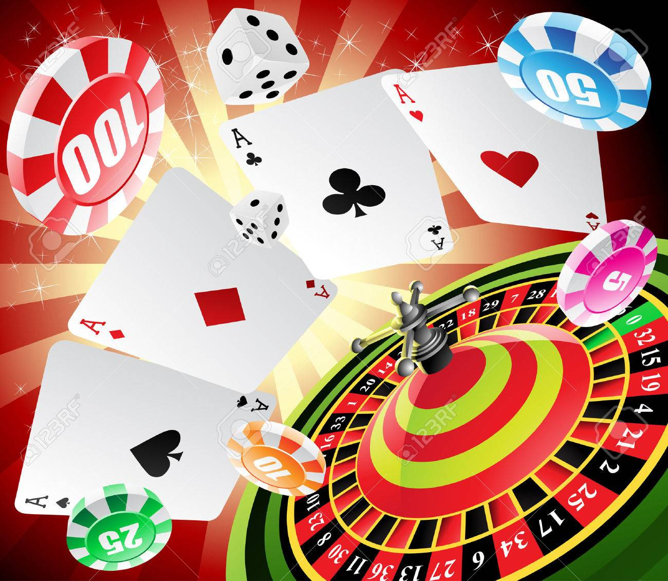 a roulette table with various gambling and casino elements Stock Vector - 4806432