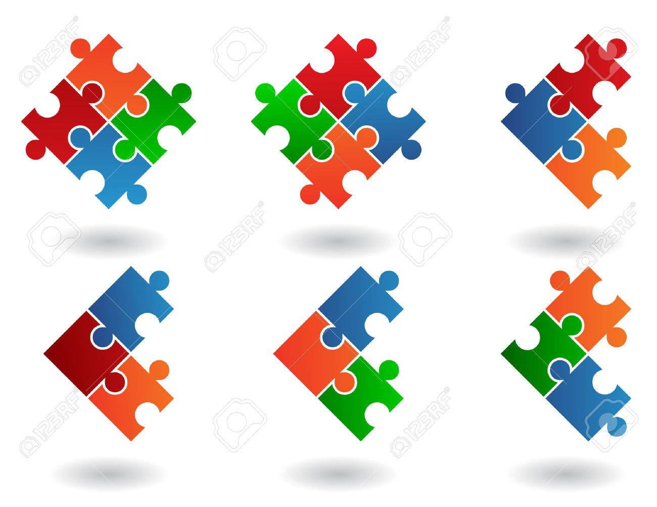 6 Jigsaw puzzle icons isolated on a white background Stock Vector - 5208419