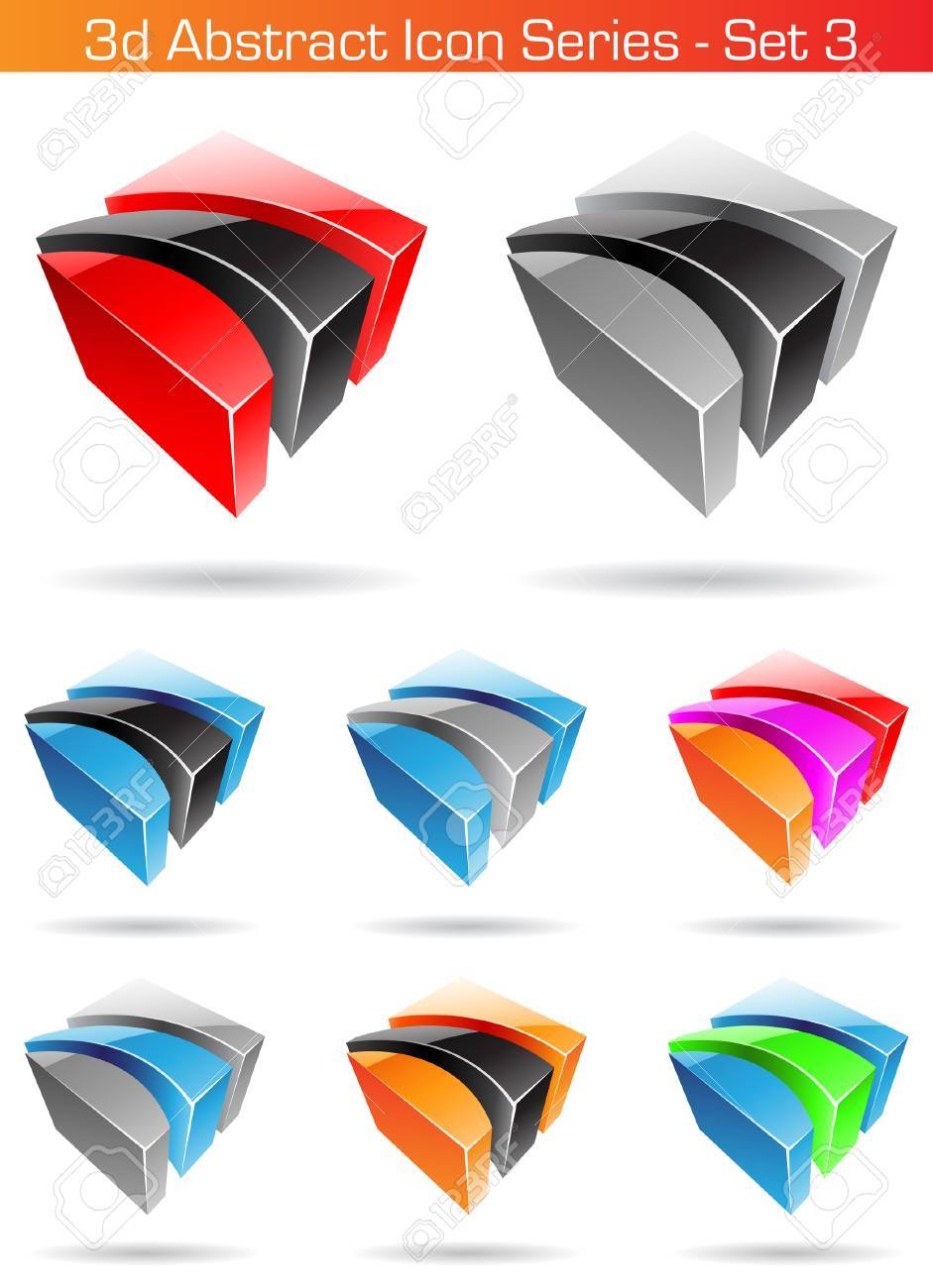 Vector EPS illustration of 3d Abstract Icon Series - Set 3 Stock Vector - 5488713