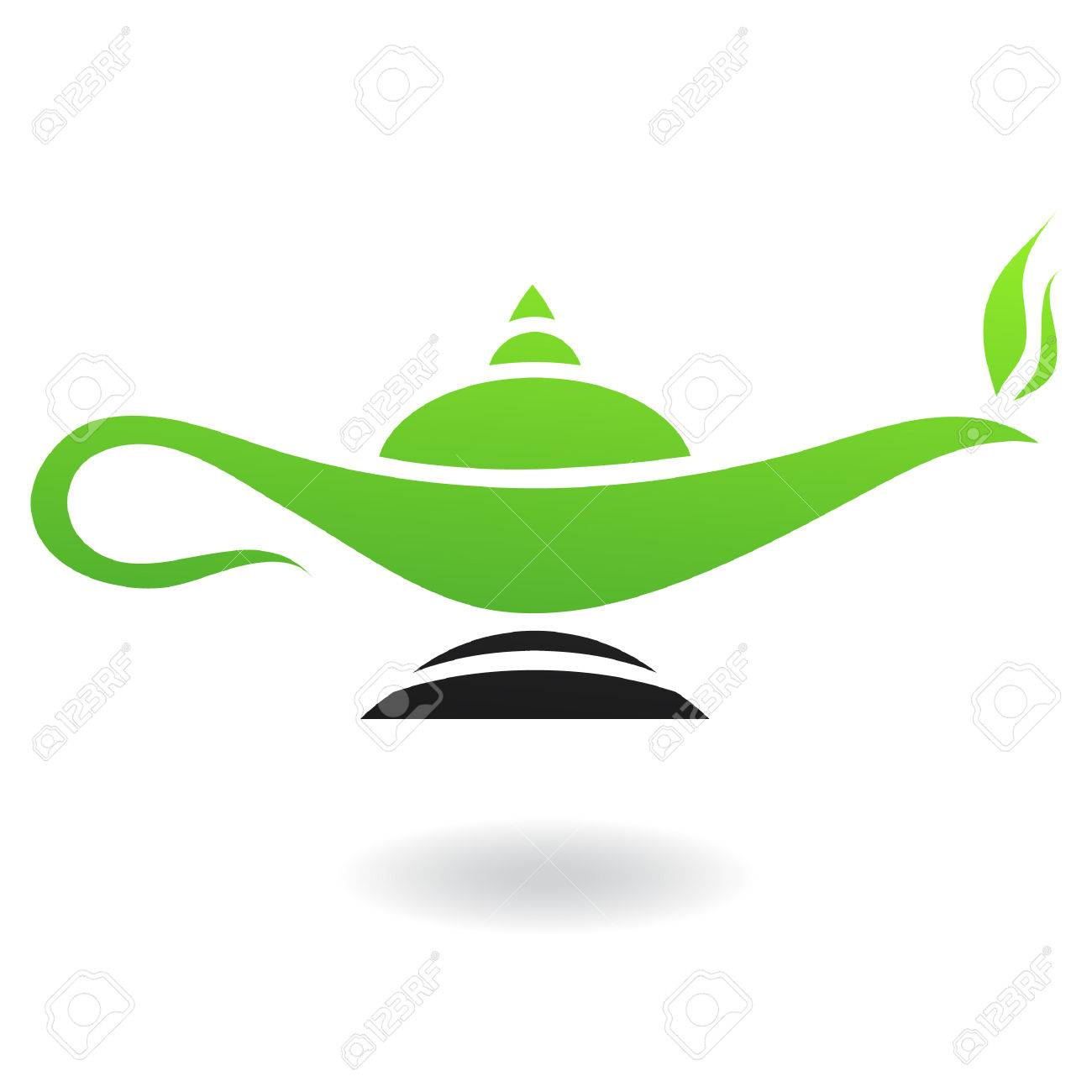 Line art green and black magic lamp isolated on white - 7276515