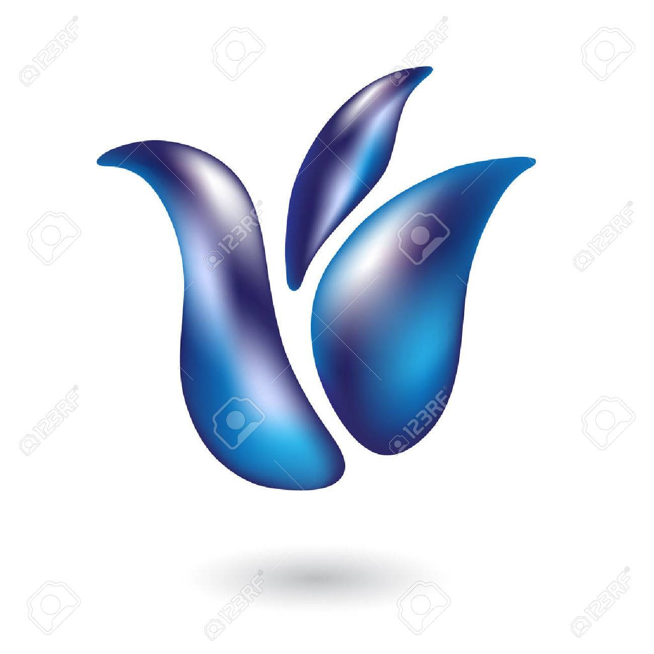 Glossy blue tulip isolated on white Stock Vector - 7276565