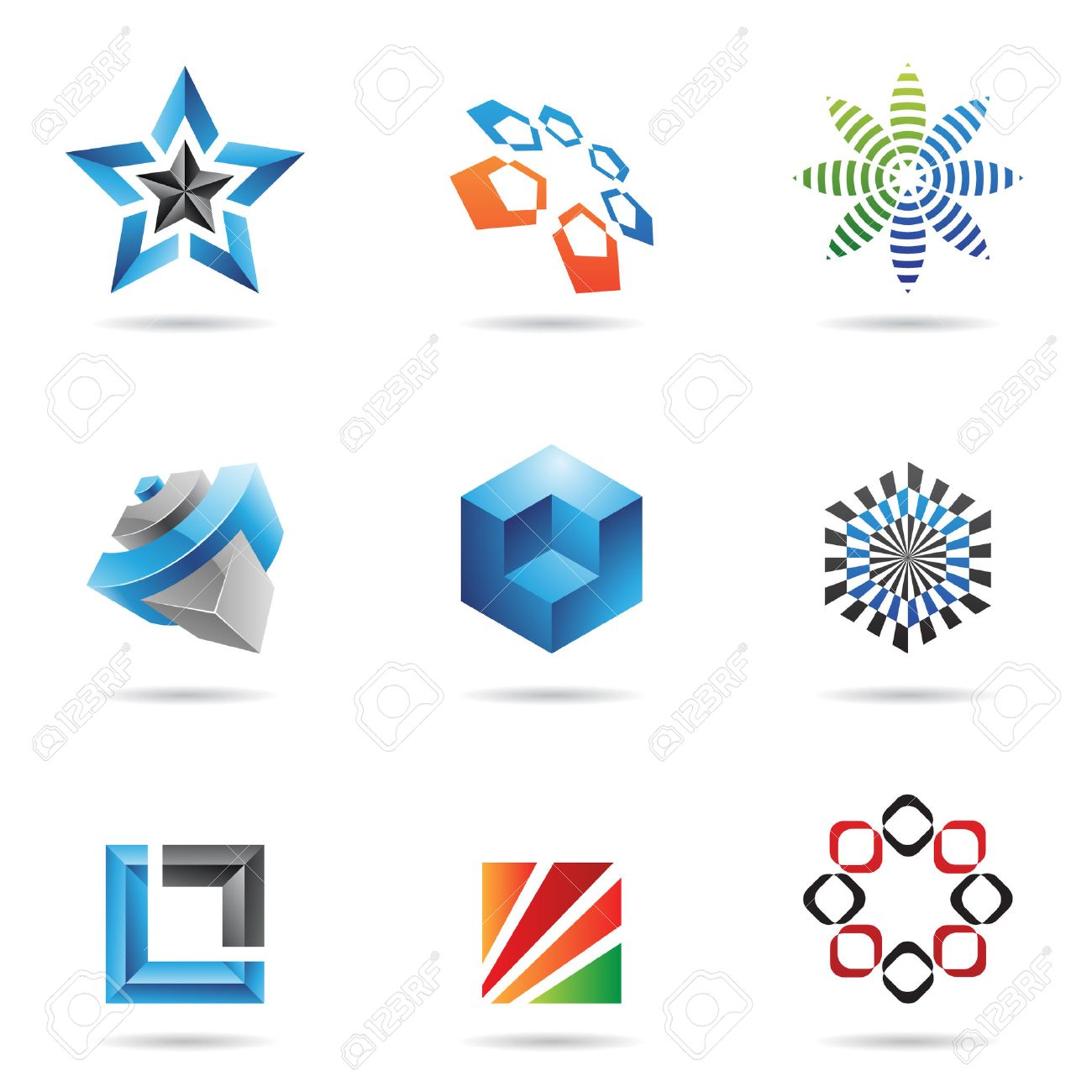 Various colorful abstract icons isolated on a white background Stock Vector - 7379163