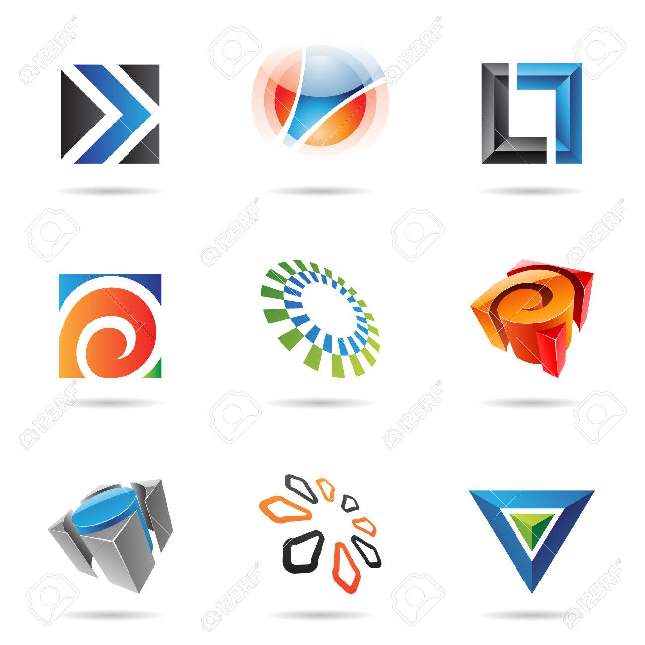 Various colorful abstract icons isolated on a white background Stock Vector - 7379170