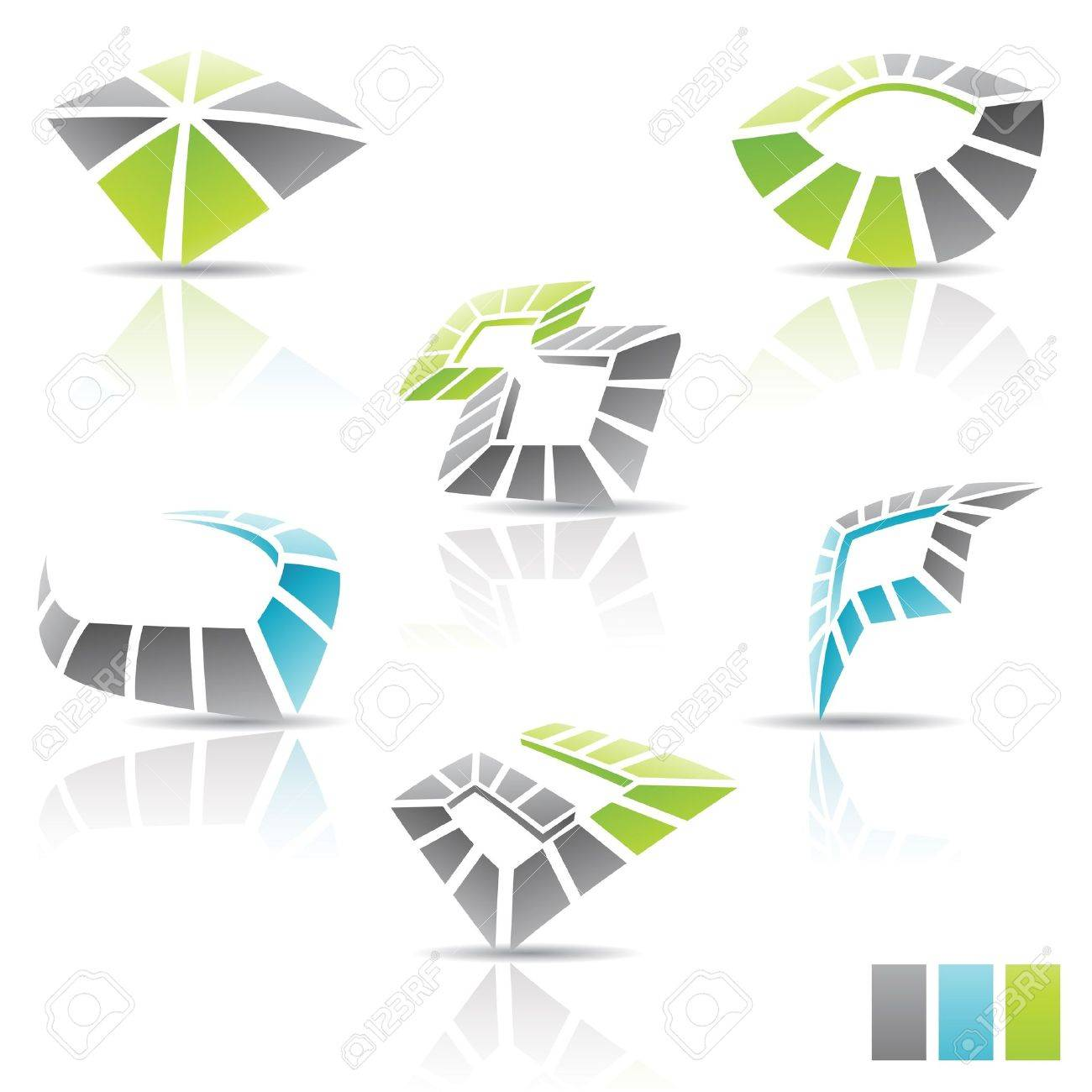 illustration of Multicolor abstract 3d icons Stock Vector - 10894291