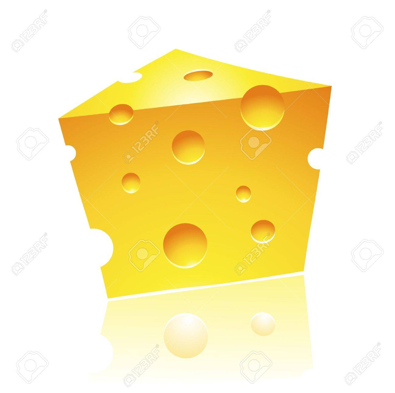 Vector Illustration of Cheddar Cheese with Reflection Stock Vector - 11084295