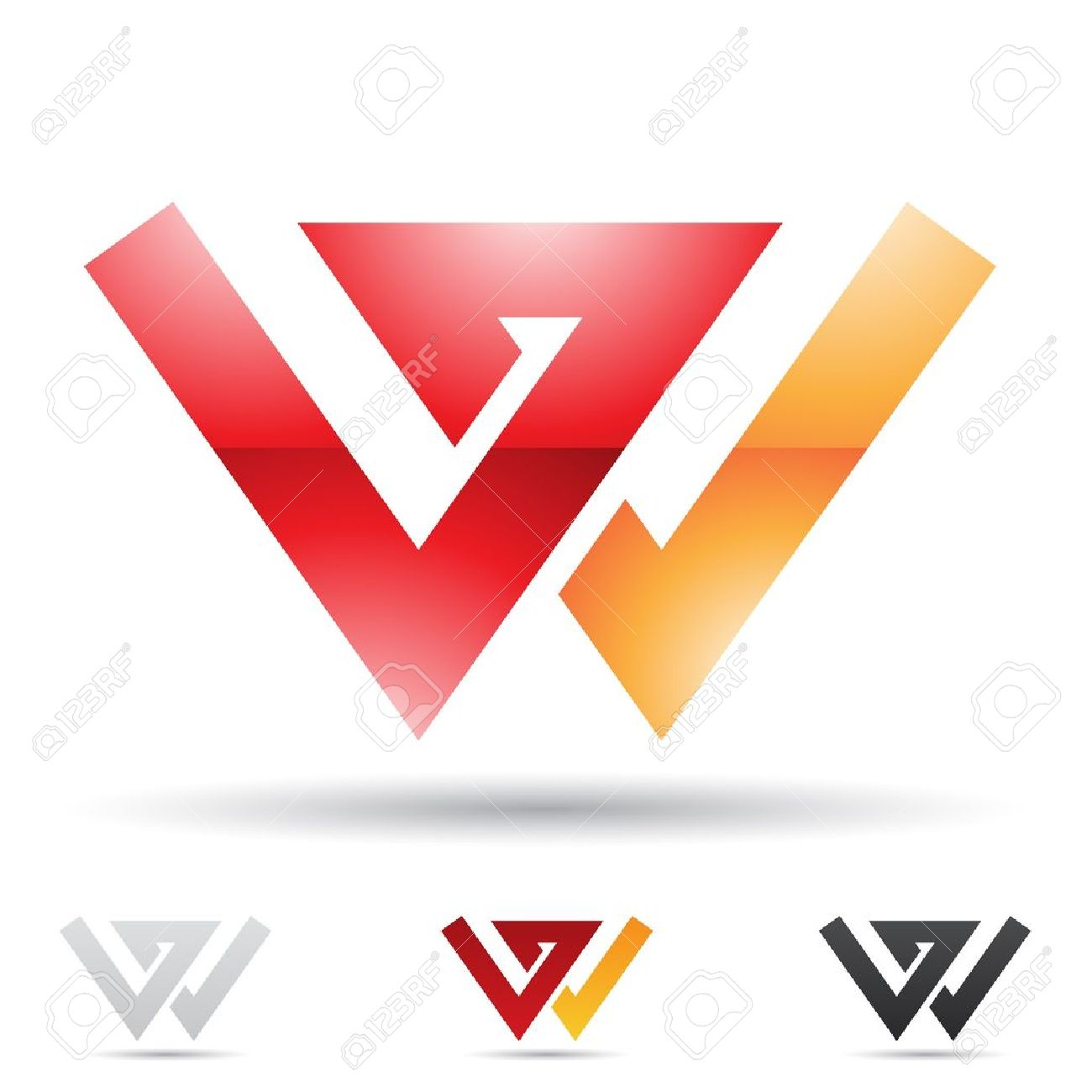 illustration of abstract icons based on the letter W Stock Vector - 14621365