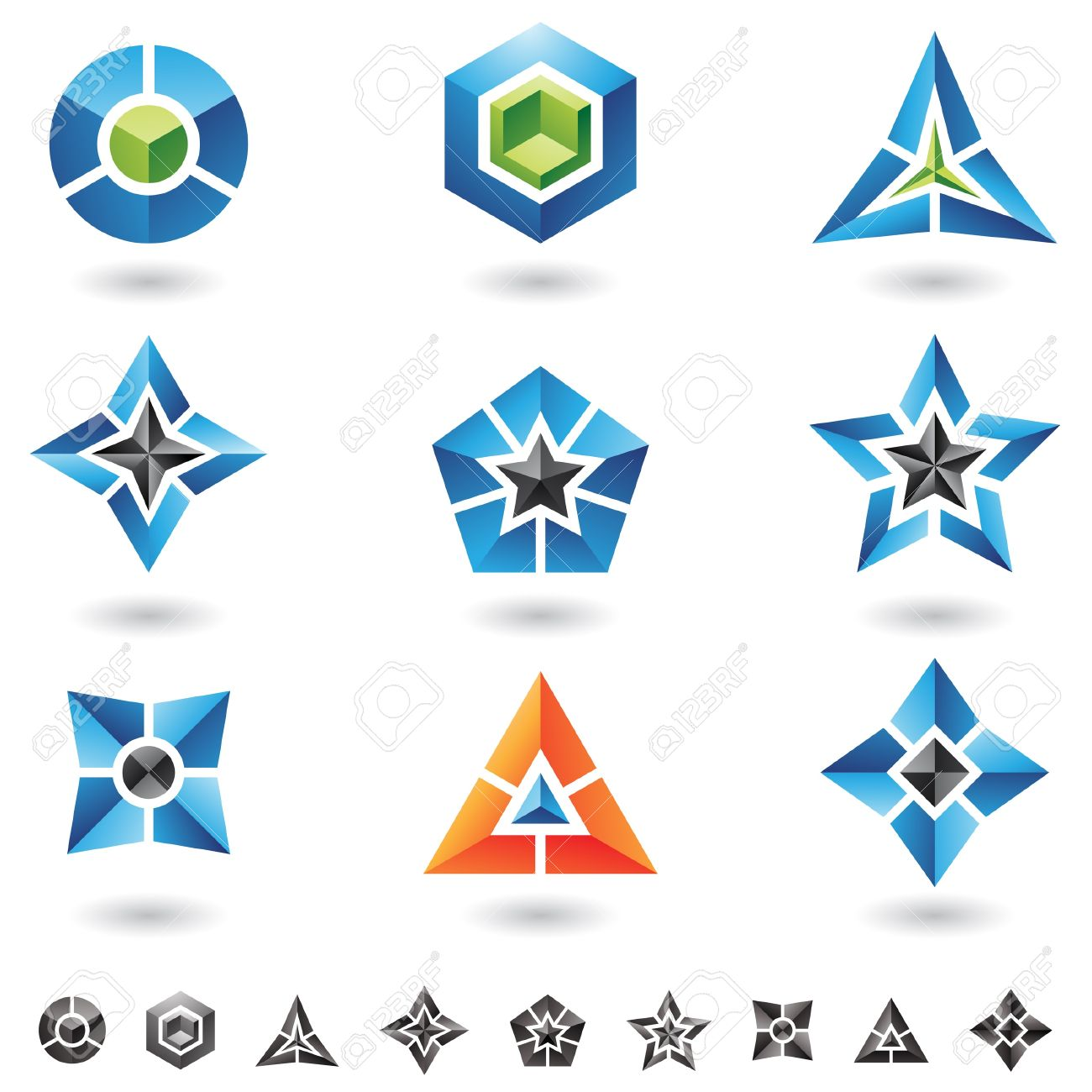 cubes, stars, pyramids and lots of 3d geometrical shapes - 14993148