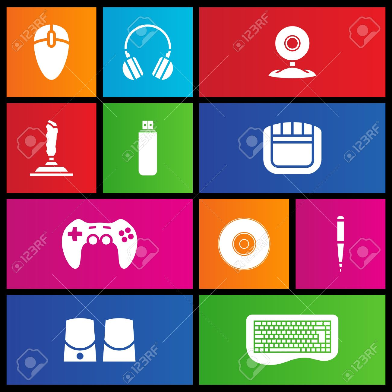 Various metro style icons of PC accessories - 14993117