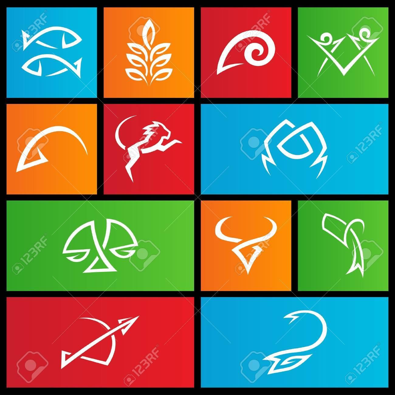 illustration of metro style zodiac star signs Stock Vector - 14993101